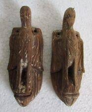 2 Pc Old Antique Wooden Hand Carved Bird Eagle Statue Wall Panel