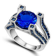 Jewelry Size 9 Women Men 18K white gold filled Blue Sapphire Wedding Ring
