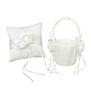 1 Set Ring Bearer Pillow and Wedding Flower Girl Basket Set Pearl Rhinestones