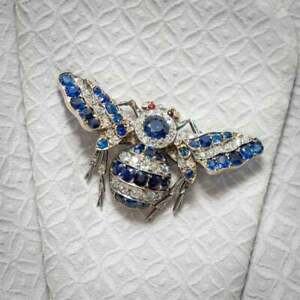 Antique Sapphire & Old Cut Cubic Zirconia With 925 Silver Ruby Eyes Bee Brooch