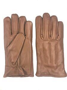 Men's Camel  GENUINE SHEEPSKIN soft leather winter gloves w/ fleece lining