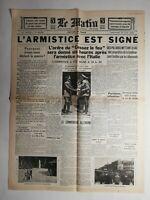 N465 La Une Du Journal Le Matin 23 juin 1940 l'armistice est signé