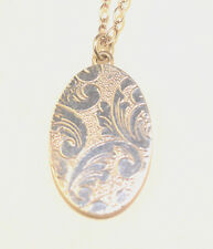 "STERLING SILVER ENGRAVED OVAL LOCKET PENDANT 18"" CHAIN NECKLACE OPEN PHOTO BACK"