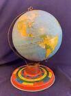Vintage Metal Tin Globe w Month Zodiac Seasons Base from 1940's Ohio Art Company