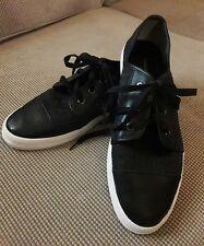 Women's Deck Shoes CALVIN KLEIN SZ 9.5 M BLACK DENIM CANVAS Low Top LEATHER