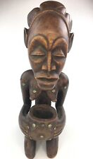 "Antique Luba African Woman Wooden Carved Statue Congo Kneeling w/ Cup  17"" TALL"