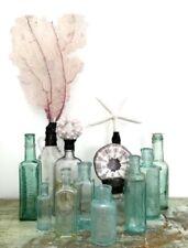 Vintage Antique blue / aqua / green / teal Glass Medical bottle, set of 8
