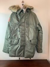 Polo Ralph Lauren Denim Supply Parka Army Green Detachable Faux Fur Nylon Size S