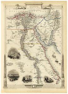 Old Vintage Map of Egypt Jordan richly illustrated Tallis 1851