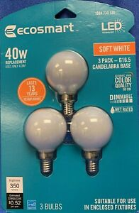 EcoSmart 40 Watt replacement LED Soft White Three Pack Candelabra Base Dimmable