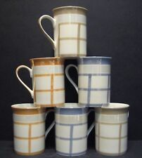 6 a Set of Six Lustre Check Fine Bone China Mugs Cups Beakers to Clear