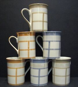 6 A SET OF SIX DATA LUSTRE NEW CHECK FINE BONE CHINA MUGS CUPS BEAKERS TO CLEAR
