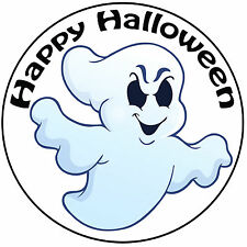 "Halloween Cartoon Ghost Cake Topper - Pre-cut Round 8"" (20cm) Icing Decoration"
