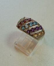 BEAUTIFUL SILVER RING SET WITH MIXED GEMSTONES