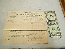 1888 Post Co Railway Supplies & Machinery Cincinnati OH & Ohio River RR Receipts
