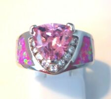 """GORGEOUS PINK FIRE OPAL /PINK/WHITE TOPAZ  RING UK Size """"N"""" US 7"""