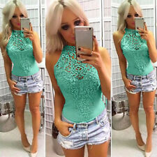 Womens Choker Lace Sleeveless Bodysuit Stretch Summer Party Leotard Top Jumpsuit