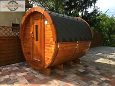 Outdoor Wooden Barrel 2,4m (Ø1.97m) Sauna with electric HARVIA heater