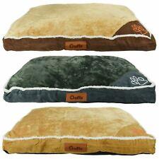 Luxury Crufts Faux Suede Fur Medium Comfy Platform Pet Bed Dog Cat Rectangle Bed