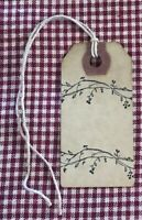 25 Small PIP BERRY BORDER Primitive Coffee Stained Gift Hang Tags Lot