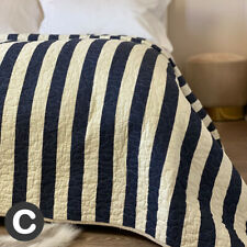 Luxury 100% Cotton Blue / Cream Striped Nautical Double / King Quilted Bedspread