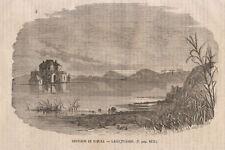 1866 Lago Fusaro Napoli Casina Vanvitelliana xilografia da emporio pittoresco