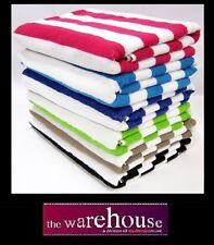 6x Cotton Stripe Striped Pool Beach Towel Green Pk Blue Black Aqua Brown 75x150