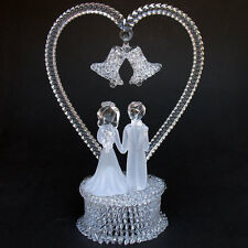 Bride and Groom Figurine Glass Wedding Cake Top Topper