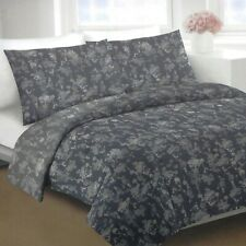 Dkny Silhouette Floral Full Queen Duvet Cover Set W Shams Charcoal Grey