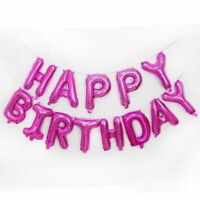 Pink Happy Birthday Foil Balloon Bunting Banner Set + FREE Straw AND Ribbon 5m