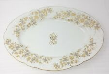 """H&C Haas Czjzek Schlaggenwald Oval Serving Platter 18"""" Monogram Gold Trim"""