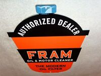 "VINTAGE FRAM OIL FILTER+ MOTOR CLEANER AUTHORIZED DEALER 12"" METAL GASOLINE SIGN"