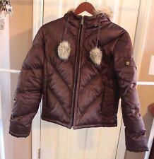 L.E.I. Girls BROWN Winter Down Hooded Jacket Coat Cold Girls Medium