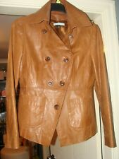 Vintage APHORISM Tan Leather Collared Blazer Fitted Jacket Size M UK 12