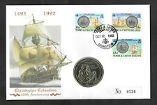 1991 Christopher Columbus 500th Anniversary Turks & Caicos 5 crown PNC cover.
