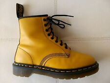 DOC DR MARTENS YELLOW LEATHER BOOTS MADE IN ENGLAND RARE VINTAGE UNISEX 6UK 8W7M