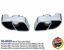 Exhaust trims tailpipe tips s/s Chrome Plated for Porsche 997 non-Turbo Carrera