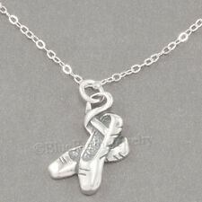 BALLERINA SHOES Charm Ballet DANCE Slippers Pendant STERLING SILVER Necklace 925