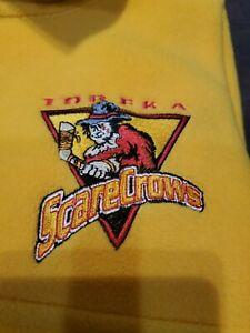 Vtg Topeka Scarecrows Hockey Fleece Yellow Pullover 1/4 zip up CHL XL EUC HTF