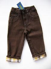 GYMBOREE Rodeo Cowboy 100% Cotton Brown Plaid Cuffed Jeans Boys 12 - 18 M NEW