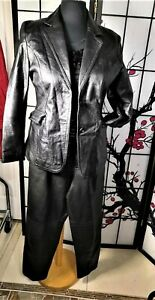 CASUAL CAREER   LEATHER PANTS SUIT  SEPARATE BLACK LARGE