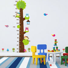 cute owl kids height scale tree wall decals living room DIY Wall sticker