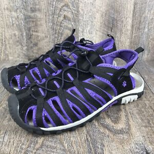 The Animal Rescue Site Women's Purple Black Paw Casual Hiking Sandals Size 10