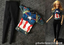 1/6 scale Captain America style Clothes Fitness Wear fit Kumik Female Body Toys