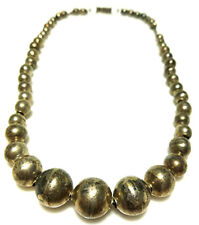 ANTIQUE OLD DESIGNER MEXICO STERLING SILVER PAWN BENCH BEAD BALL CHAIN NECKLACE