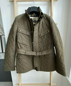 100% Authentic BNWT Burberry Leather Trim Field Quilted Belted Jacket Lined 48