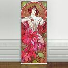 "Stunning Alphonse Mucha Ruby ~ CANVAS PRINT 24""X10"" Art Nouveau Gem stone series"