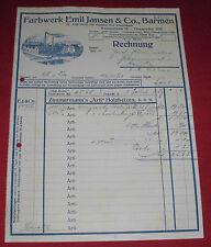 alte rechnung schreiben alt antik  emil jansen & co barmen farbwerk 1919 papier