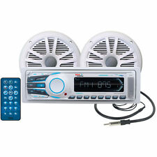 NEW Marine Grade Audio Head Unit.Receiver.SingleDin.Boat.AMFM.Bluetooth.Speakers