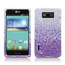 LG Optimus Showtime Crystal Diamond BLING Hard Case Phone Cover Gradient Purple